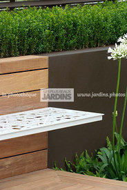 Bench, Contemporary garden, Low hedge, Digital