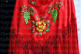 Detail of embroidered shawl or manta, Tarija, Bolivia