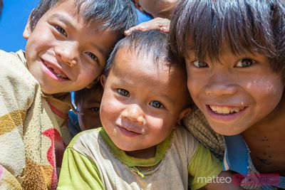 Portrait of happy smiling children, Shan state, Myanmar