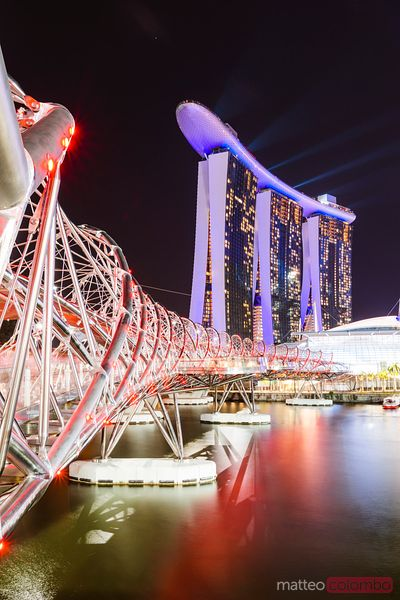 Helix bridge and Marina Bay Sands at night, Singapore