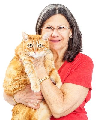 Mature Woman and Large Cat