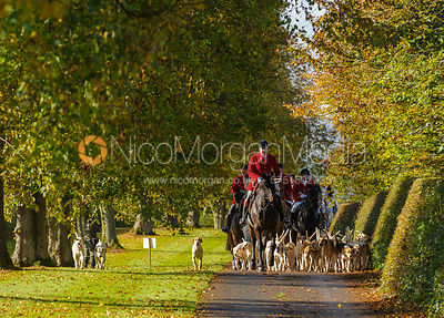 Huntsman and hounds arriving at the meet at Preston Lodge - Opening Meet 2016