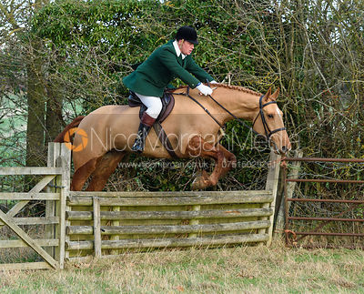 Duncan Maxwell Jumping a fence on the first line. The Cambridge University Drag Hounds at Great Gidding 9/12
