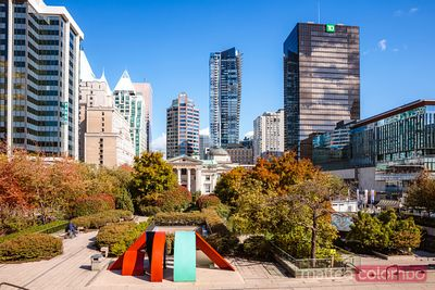 Robson square in autumn, Vancouver, British Columbia, Canada