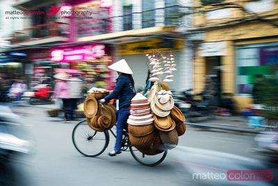 Biking in the caotic streets of Hanoi, Vietnam