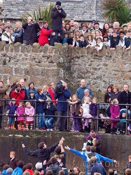 the silver ball is thrown and caught in St Ives Feast custom