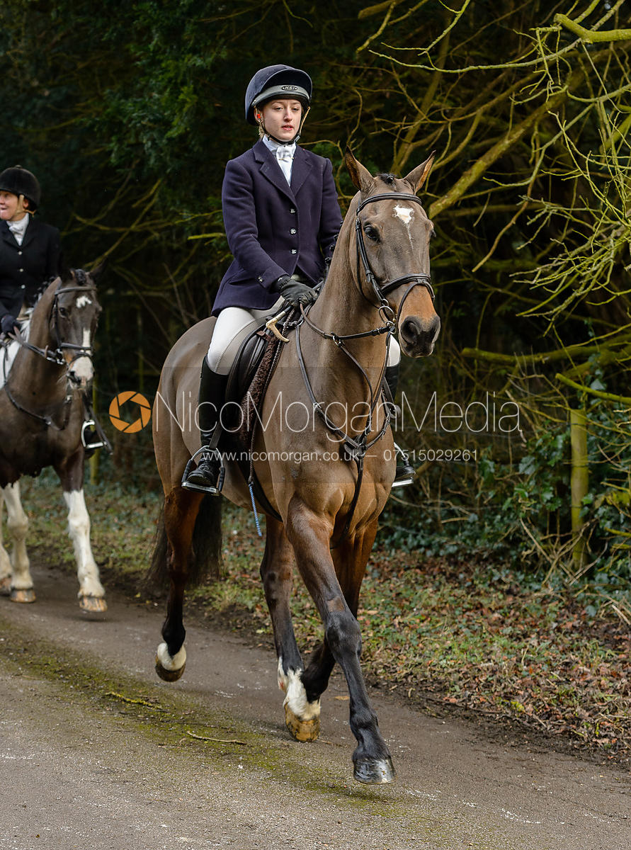 Amelia Leeming leaving the Cottesmore Hunt meet at Little Dalby Hall