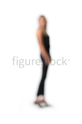 An abstract image of a standing blonde woman – shot from mid level.