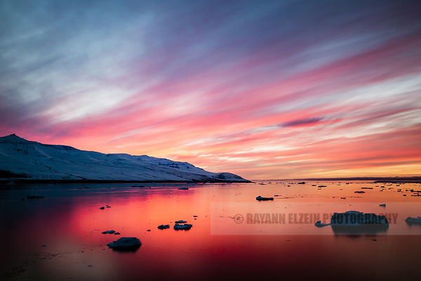 A very colourful sunset in Uummannaq, Greenland