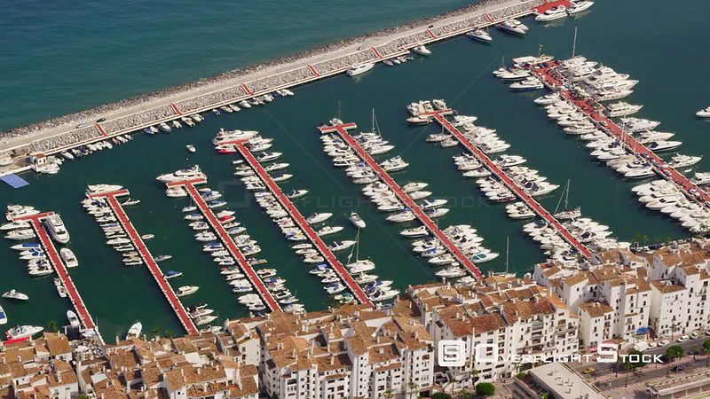 Aerial View of Puerto Banus Marina on Western Edge of Marbella, Spain