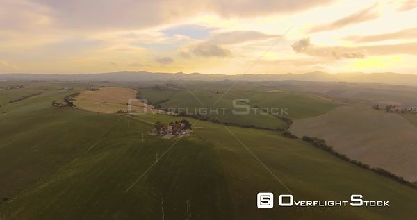 Aerial footage, famous tuscan hills landscape in Tuscany, Italy, 4K