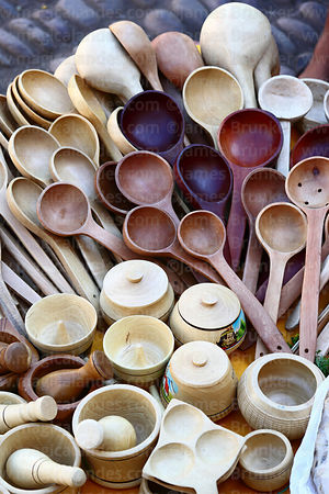 Wooden kitchen utensils for sale at Pisac market, Sacred Valley, Peru
