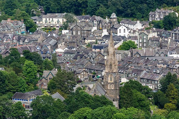 Elevated View of the Town of Ambleside with St Mary's Church in the Foreground