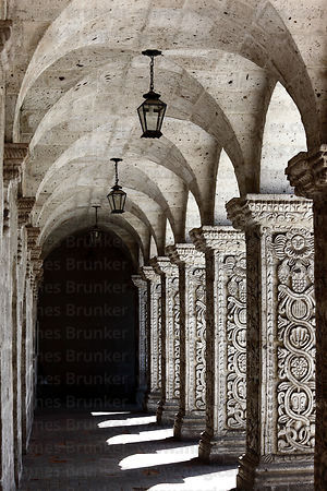 Pillars in cloisters of La Compañia de Jesus church , Arequipa , Peru