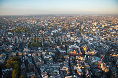 London. Aerial view of the City of London and Camden