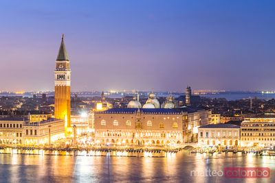 Aerial view of the old town at dusk, Venice, Italy