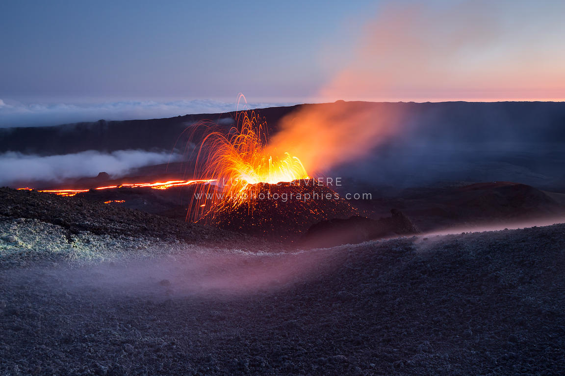 Eruption Fournaise 2015, Fontaine de lave