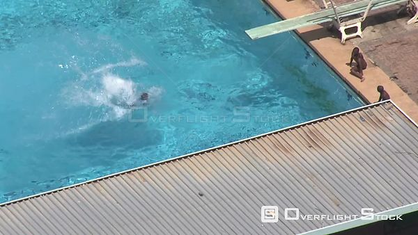 Aerial shot of people swimming in a swimming pool Bloemfontein Free State South Africa