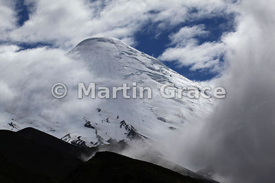 Snow-covered summit of Osorno volcano (2652 metres), Parque Nacional Vicente Perez, Los Lagos, Chile
