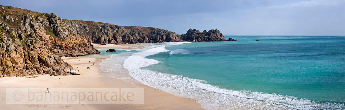 Panoramic view of the Logan Rock and Porthcurno beach, Cornwall - BP0956