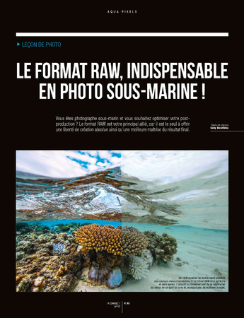 Article dans Plongez Magasine Format RAW en photo sub