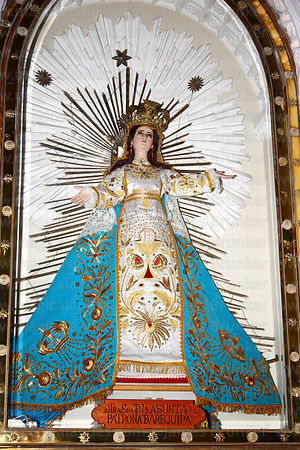 Figure of Our Lady of Asunta inside cathedral , Arequipa , Peru