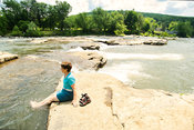Female Visitor Cools Off Along Youghiogheny River- Ohiopyle, PA (Wide_View)