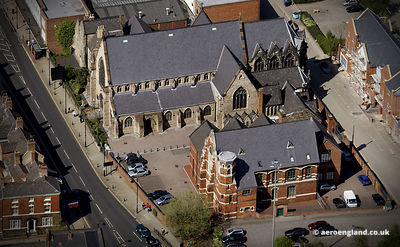 aerial photograph of St. Mary and Saint Johns Church, Wolverhampton, West Midlands    UK