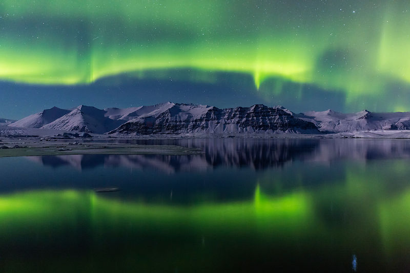 Northern Lights (Aurora Borealis) over Lake Jökulsarlón