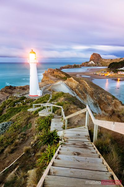 Castle Point lighthouse at dawn, Wellington region, New Zealand