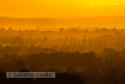 Shropshire landscape at sunrise, Shropshire, England, UK.