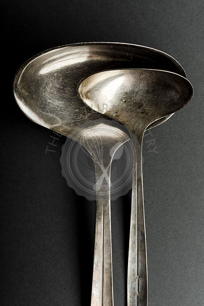 Vintage metallic ladle and scoop