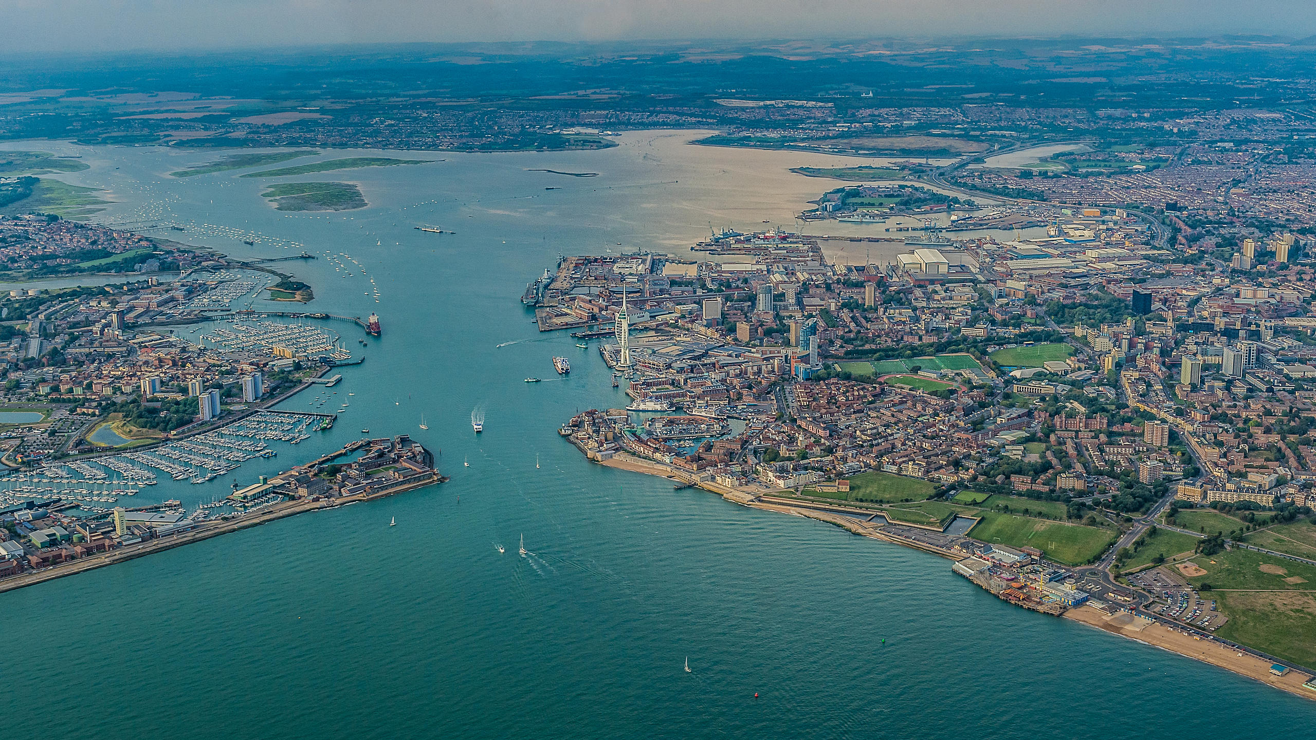 Aerial View of Portsmouth, Gosport and Portsmouth Harbour