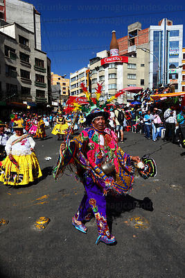 Tinti caballo character with waca waca dance group at Gran Poder festival, La Paz, Bolivia