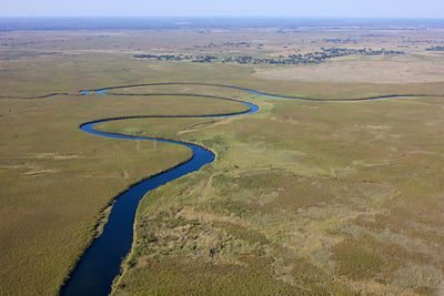 Aerial view of the Okavango Delta, with high water level, Botswana,  June 2014.