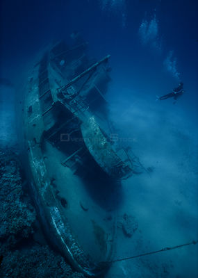 Looking down on the shipwreck of the small freighter 'Ora Verde' that sank in 1980, Grand Cayman Island, Caribbean Sea
