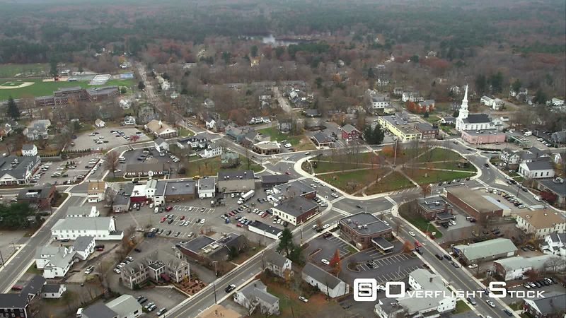 Over Town Square and Residential Area of a Small Town South of Boston. Shot in November