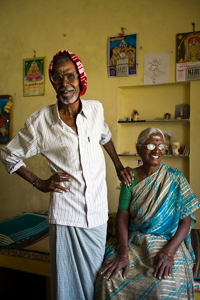 India - Cuddalore - Ganapadi and his wife, Khrisaveni residents in their room at the Tamaraikulam Elders' Village