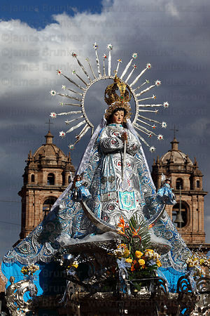 Virgin of the Immaculate Conception and Compañia de Jesus church , Corpus Christi festival , Plaza de Armas , Cusco , Peru