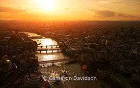 Aerial of the Thames River in London at sunrise