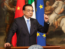 Italian Prime Minister Matteo Renzi hosts a meeting with Chinese Prime Minister Li Keqiang at Palazzo Chigi in Rome.