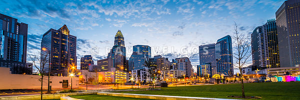 Charlotte Skyline and Bearden Park Panorama Photo