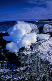 Melting Ice on Coastal Rocks