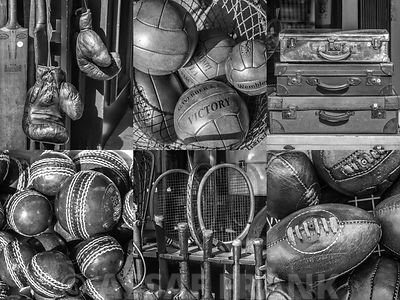Collage of antique sports equipment in black and white