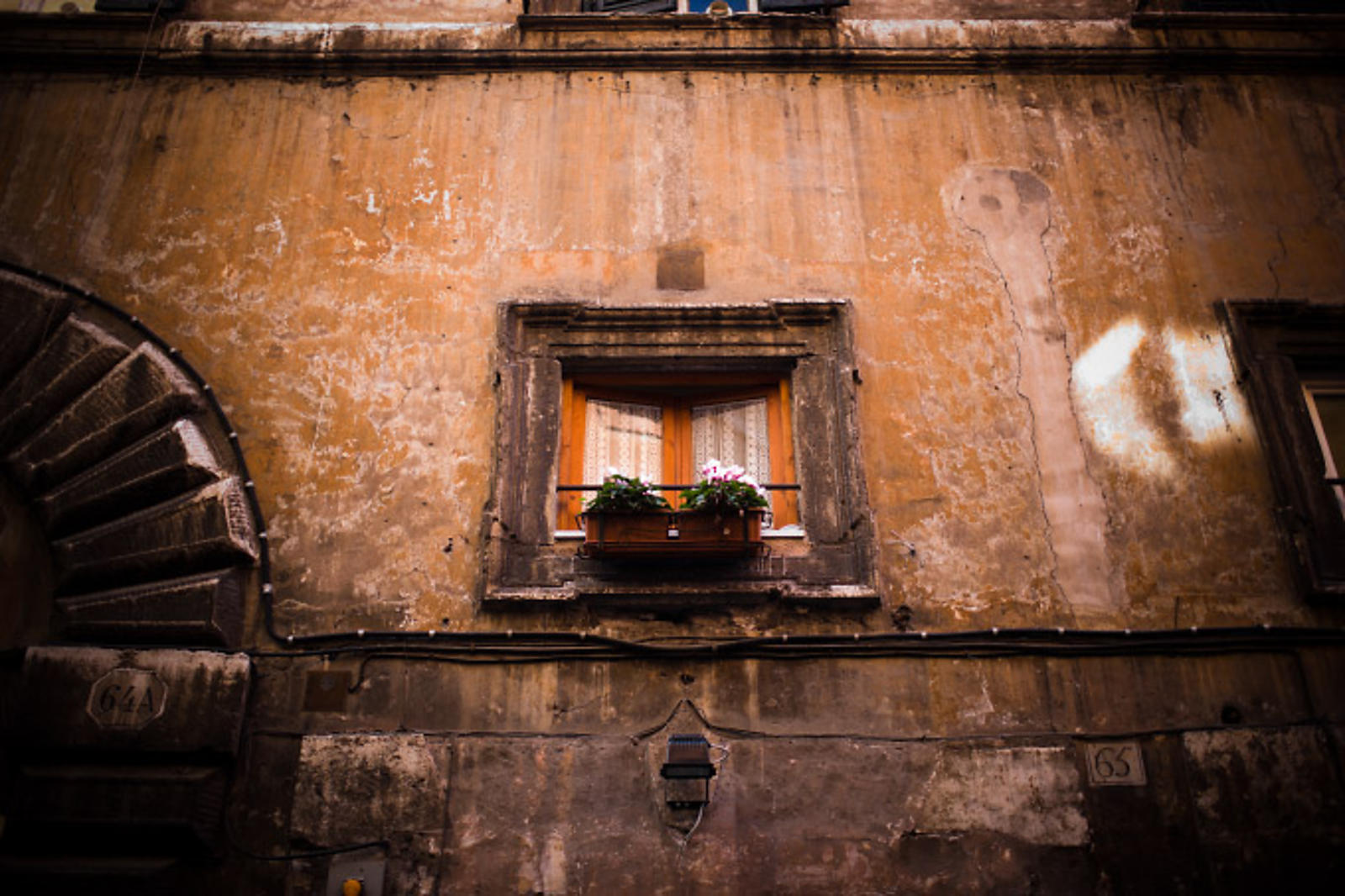 Building's window in old Rome