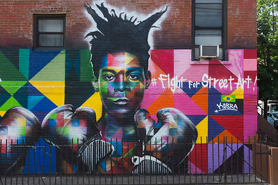 Street art dans le quartier de Williamsburg, Brooklyn, New York, USA / Street art painting in Williamsburg District, Brooklyn...