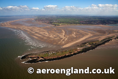 aerial photograph of Hilbre Island  Merseyside UK