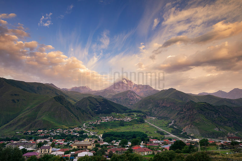 Elevated View of Mt Kazbegi and the Town of Stepantsminda