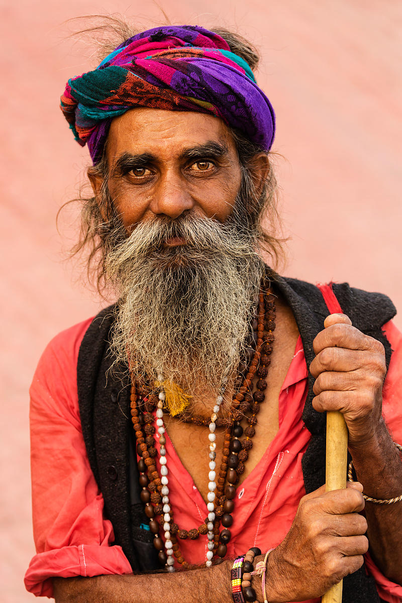 Portrait of a Colorfully Dressed Sadhu