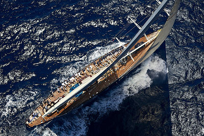 Aerial view of crew hiking-out on board J-class yacht 'Velsheda' on the second day of the Superyacht Cup, Palma, Majorca, Spa...